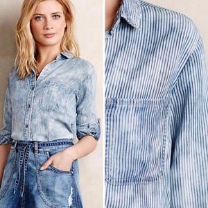 Anthropologie Cloth & Stone Split Back Stripe Top